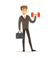 smiling businessman in a suit easily lifting a vector image vector image