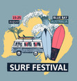 surf festival poster with retro bus surfboards vector image vector image