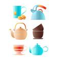 teapots set cartoon pictures cup tea vector image vector image