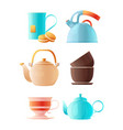 teapots set cartoon pictures of cup of tea vector image