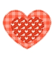 Two red patchwork hearts vector image