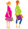 walking pregnant girls vector image vector image
