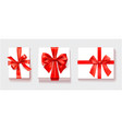 white gift box with red color bow knot ribbon vector image