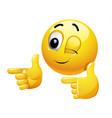 winking smiley gesturing with his hand vector image vector image