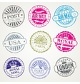 Retro postal stamps mail post office air vector image
