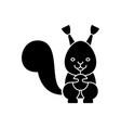 squirrel cute icon black vector image