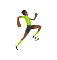 african american soccer player running and kicking vector image vector image