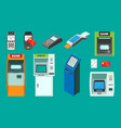 banking and pos terminals isometric set vector image