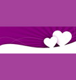 beautiful two white hearts purple banner design vector image