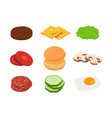 burger isometric constructor burger vector image vector image