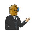 businessman with birdhouse head sketch vector image vector image