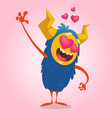 cartoon blue horned monster in love waving vector image vector image