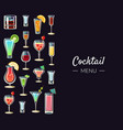 cocktail menu banner template alcoholic beverages vector image vector image