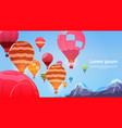 colorful air balloons flying in sky banner vector image