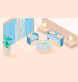 cozy modern minimal living room isometric vector image