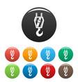 crane hook icons set color vector image vector image