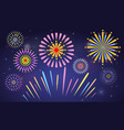 cute colorful fireworks with solid and flat color vector image vector image