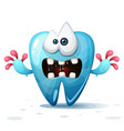 cute funny crazy cartoon tooth vector image