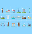 famous architectural landmarks set popular travel vector image vector image