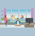 father working at home cartoon concept vector image vector image