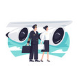 flat man and woman aircrew in background aircraft vector image vector image