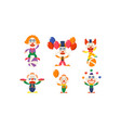 flat set of funny clowns in actions vector image vector image