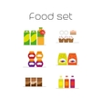 Foods market flat icons set vector image