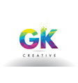 gk g k colorful letter origami triangles design vector image vector image