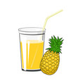 glass of pineapple juice vector image