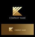 gold letter k stripe shape logo vector image