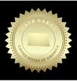 Gold star label North Dakota vector image vector image