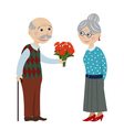 Grandpa gives flowers grandmother vector image