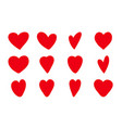 hand drawn hearts icon set vector image vector image