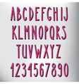 Hand drawn narrow pink alphabet vector image