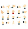 hand sign icon set flat style vector image
