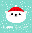 happy new year polar white bear cub face round vector image vector image