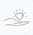 heart on palm hand icon on transparent background vector image
