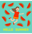 Hello summer greeting card Girl jumping Happy vector image