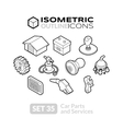 isometric outline icons set 35 vector image