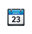 March 23 Calendar icon flat vector image vector image