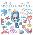 marine life set little cute cartoon vector image