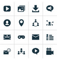 media icons set with profile communication game vector image vector image
