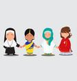 multi ethnic people vector image