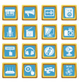 multimedia internet icons set sapphirine square vector image vector image