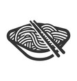 noodle black line art icon delicious cooking vector image vector image