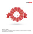 processor icon - red ribbon banner vector image