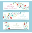 retro flower banners concept vector image vector image