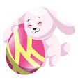 rosy easter rabbit hugging pink easter egg web on vector image vector image