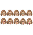 set caucasian women head in various face vector image