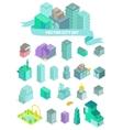 set isometric city buildings shops park vector image